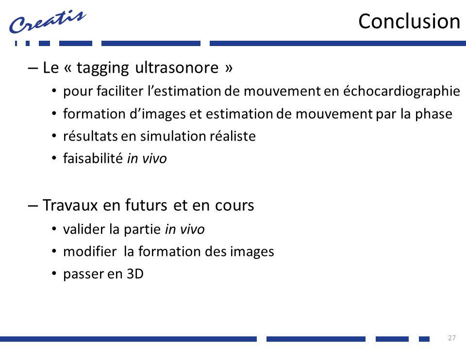 Conclusion – Le « tagging ultrasonore » pour faciliter lestimation de mouvement en échocardiographie formation dimages et estimation de mouvement par