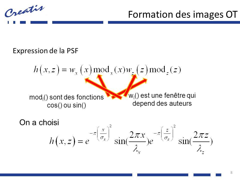 h(z) = f (excitation, réponse impulsionnelle du transducteur) Oscillations axiales présentes naturellement dans la PSF Modulation de la forme par des signaux dexcitation spécifiques h(x) = f (délais en tx/rx, pondération en tx/rx) Conception des délais et pondérations en tx/rx lapproximation de Fraunhoffer dit que pour une onde focalisée, le profil h() a la forme de la transformée de Fourier de la fonction douverture w() 9 Profondeur zLongueur donde λ de lexcitation Formation des images OT