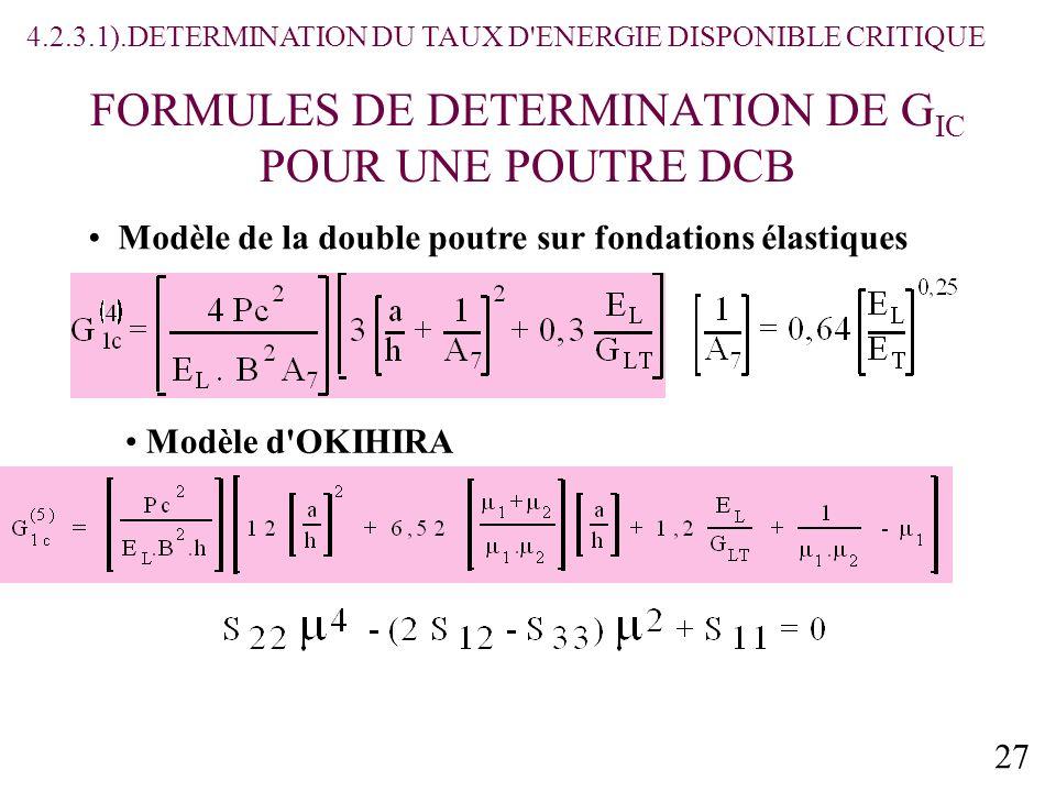 27 FORMULES DE DETERMINATION DE G IC POUR UNE POUTRE DCB Modèle de la double poutre sur fondations élastiques Modèle d OKIHIRA 4.2.3.1).DETERMINATION DU TAUX D ENERGIE DISPONIBLE CRITIQUE