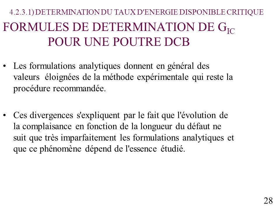 28 FORMULES DE DETERMINATION DE G IC POUR UNE POUTRE DCB Les formulations analytiques donnent en général des valeurs éloignées de la méthode expérimentale qui reste la procédure recommandée.