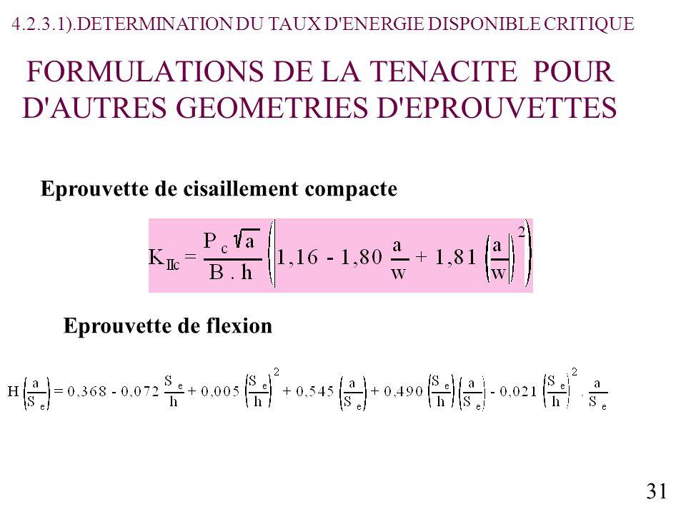 31 FORMULATIONS DE LA TENACITE POUR D AUTRES GEOMETRIES D EPROUVETTES Eprouvette de cisaillement compacte Eprouvette de flexion 4.2.3.1).DETERMINATION DU TAUX D ENERGIE DISPONIBLE CRITIQUE