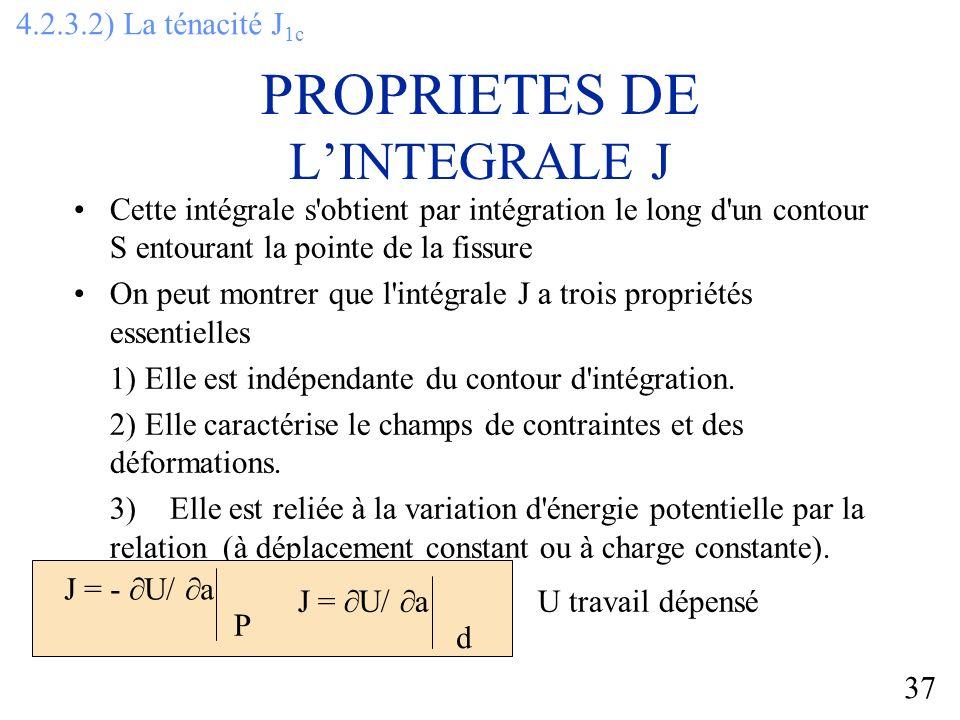 37 Cette intégrale s obtient par intégration le long d un contour S entourant la pointe de la fissure On peut montrer que l intégrale J a trois propriétés essentielles 1) Elle est indépendante du contour d intégration.