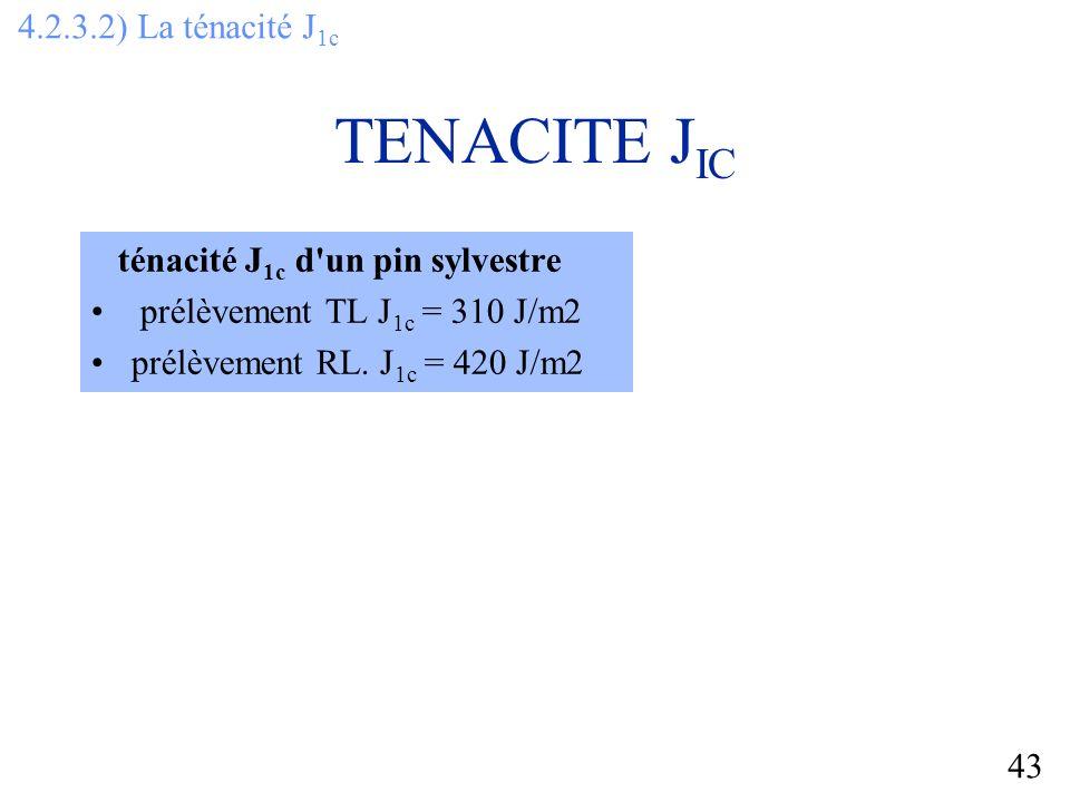 43 TENACITE J IC ténacité J 1c d un pin sylvestre prélèvement TL J 1c = 310 J/m2 prélèvement RL.