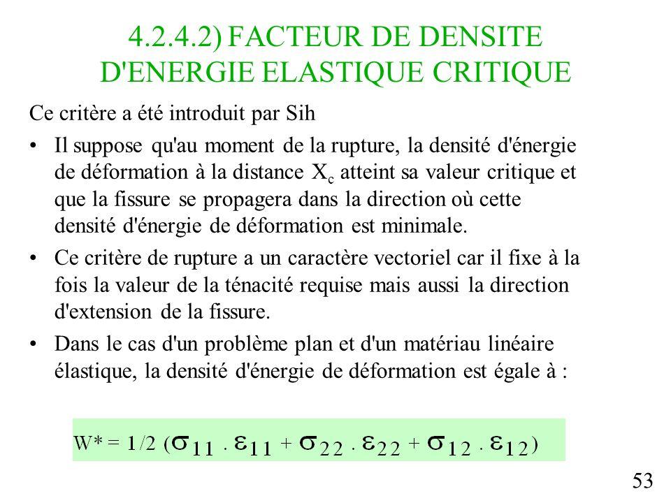 53 4.2.4.2) FACTEUR DE DENSITE D ENERGIE ELASTIQUE CRITIQUE Ce critère a été introduit par Sih Il suppose qu au moment de la rupture, la densité d énergie de déformation à la distance X c atteint sa valeur critique et que la fissure se propagera dans la direction où cette densité d énergie de déformation est minimale.