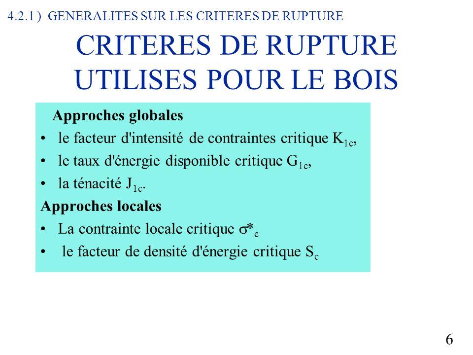 6 CRITERES DE RUPTURE UTILISES POUR LE BOIS Approches globales le facteur d intensité de contraintes critique K 1c, le taux d énergie disponible critique G 1c, la ténacité J 1c.