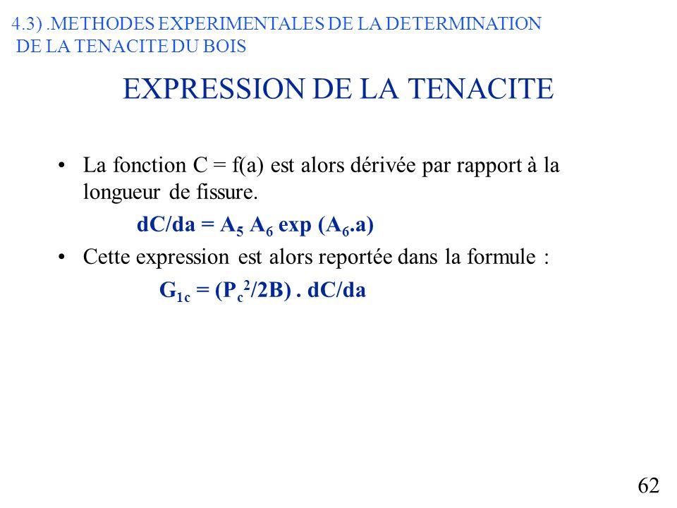 62 EXPRESSION DE LA TENACITE La fonction C = f(a) est alors dérivée par rapport à la longueur de fissure.