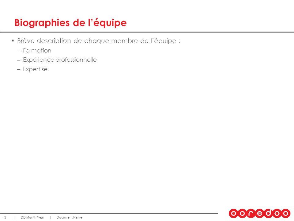 Document NameDD Month Year 3 || Biographies de léquipe Brève description de chaque membre de léquipe : – Formation – Expérience professionnelle – Expe