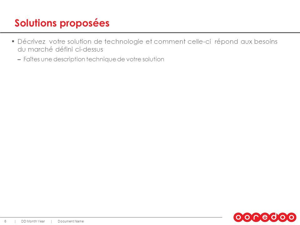 Document NameDD Month Year 6 || Solutions proposées Décrivez votre solution de technologie et comment celle-ci répond aux besoins du marché défini ci-