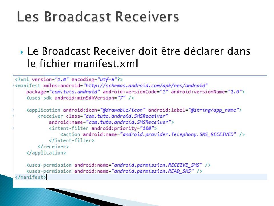 Permissions accordées au Broadcast receiver Le filtre des intents relatif à la réception de messages