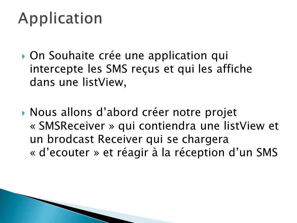 On Souhaite crée une application qui intercepte les SMS reçus et qui les affiche dans une listView, Nous allons dabord créer notre projet « SMSReceiver » qui contiendra une listView et un brodcast Receiver qui se chargera « decouter » et réagir à la réception dun SMS