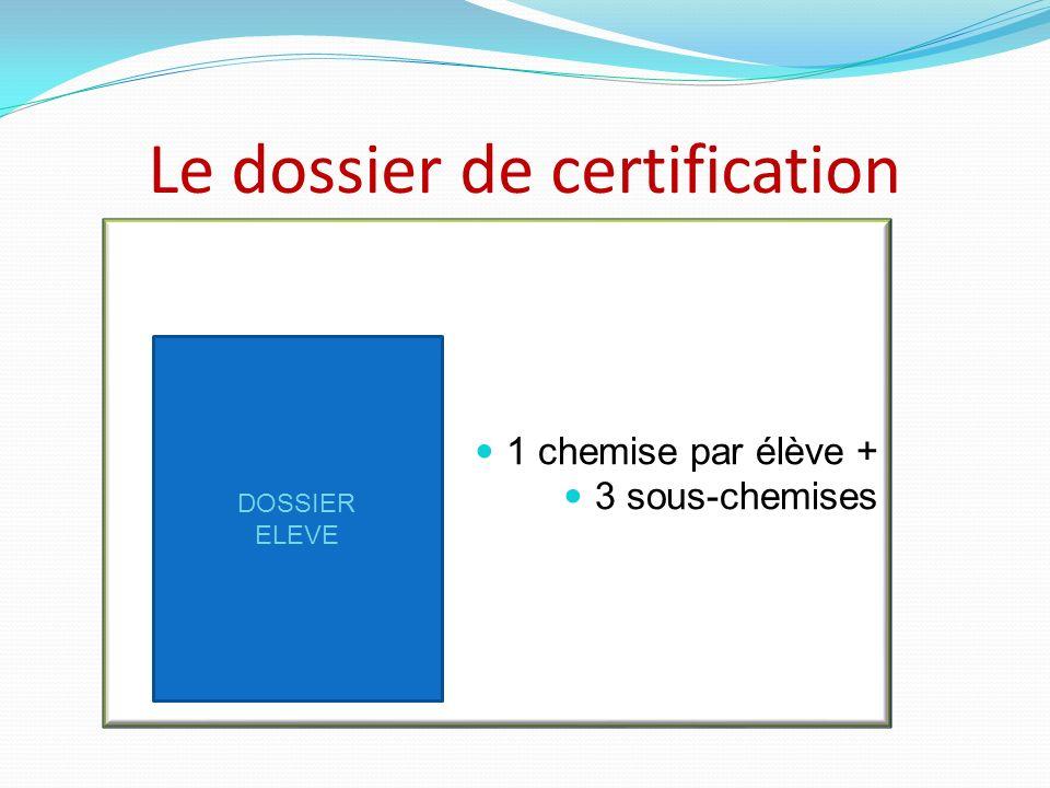 Le dossier de certification 1 chemise par élève + 3 sous-chemises DOSSIER ELEVE