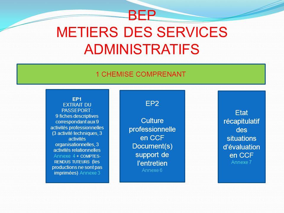 BEP METIERS DES SERVICES ADMINISTRATIFS EP1 EXTRAIT DU PASSEPORT : 9 fiches descriptives correspondant aux 9 activités professionnelles (3 activité te