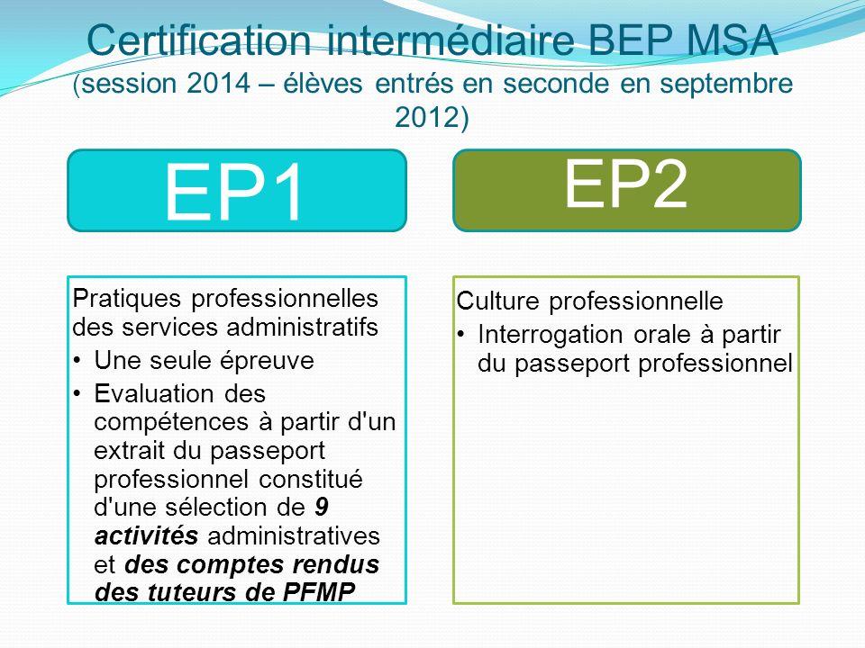 Certification intermédiaire BEP MSA ( session 2014 – élèves entrés en seconde en septembre 2012) EP2 Pratiques professionnelles des services administr