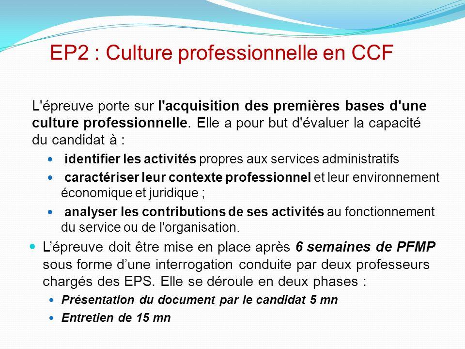 EP2 : Culture professionnelle en CCF L'épreuve porte sur l'acquisition des premières bases d'une culture professionnelle. Elle a pour but d'évaluer la