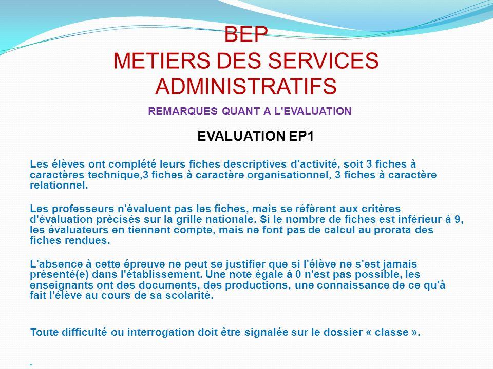 BEP METIERS DES SERVICES ADMINISTRATIFS REMARQUES QUANT A L'EVALUATION EVALUATION EP1 Les élèves ont complété leurs fiches descriptives d'activité, so