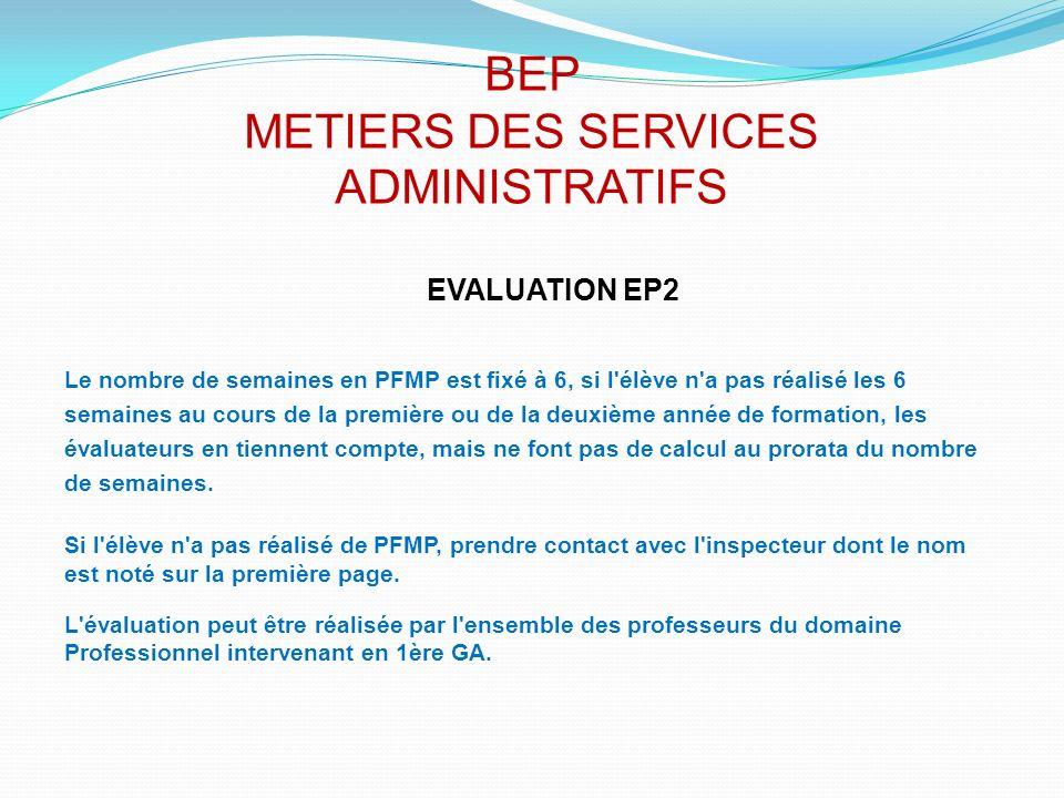 BEP METIERS DES SERVICES ADMINISTRATIFS EVALUATION EP2 Le nombre de semaines en PFMP est fixé à 6, si l'élève n'a pas réalisé les 6 semaines au cours
