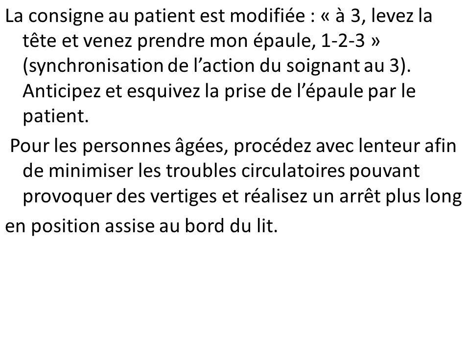 La consigne au patient est modifiée : « à 3, levez la tête et venez prendre mon épaule, 1-2-3 » (synchronisation de laction du soignant au 3). Anticip
