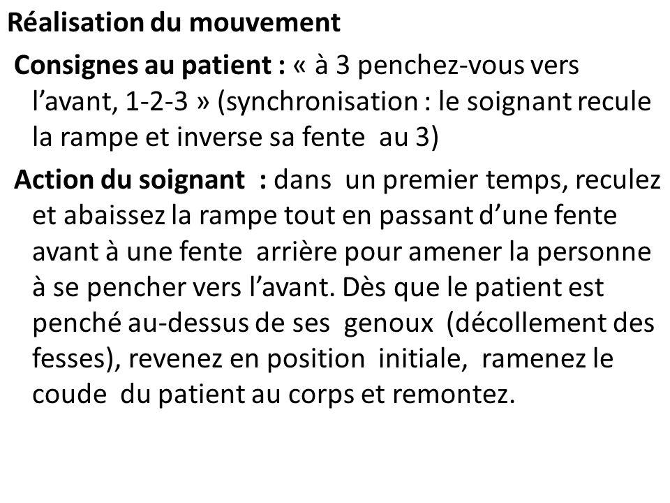 Réalisation du mouvement Consignes au patient : « à 3 penchez-vous vers lavant, 1-2-3 » (synchronisation : le soignant recule la rampe et inverse sa f