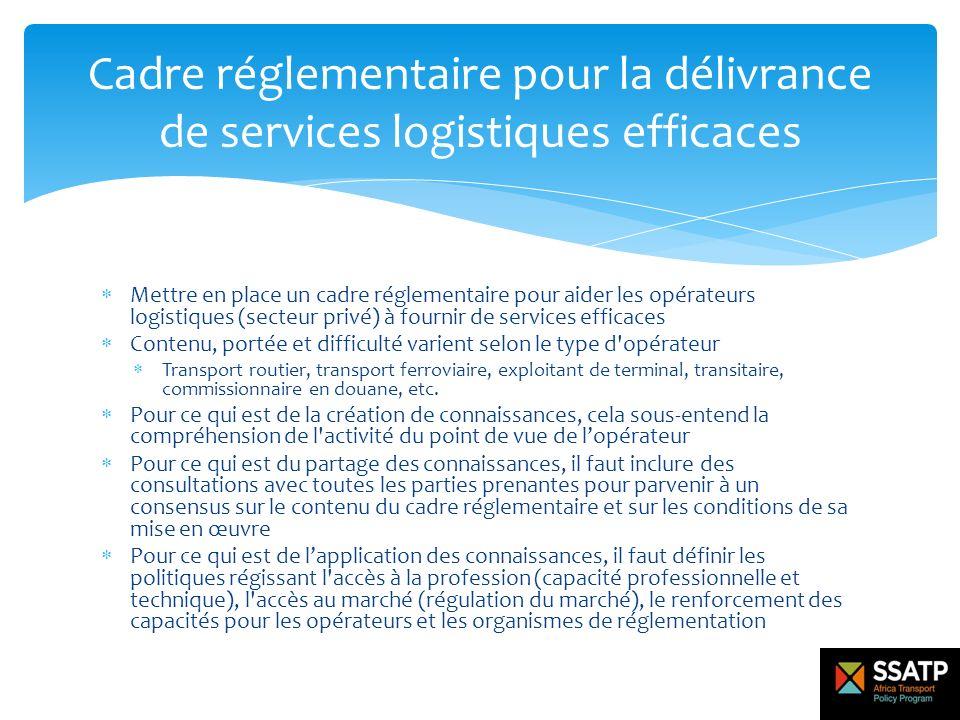Mettre en place un cadre réglementaire pour aider les opérateurs logistiques (secteur privé) à fournir de services efficaces Contenu, portée et diffic
