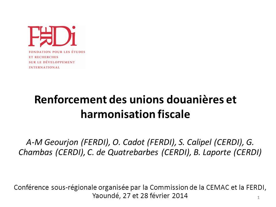 1111 Renforcement des unions douanières et harmonisation fiscale A-M Geourjon (FERDI), O. Cadot (FERDI), S. Calipel (CERDI), G. Chambas (CERDI), C. de