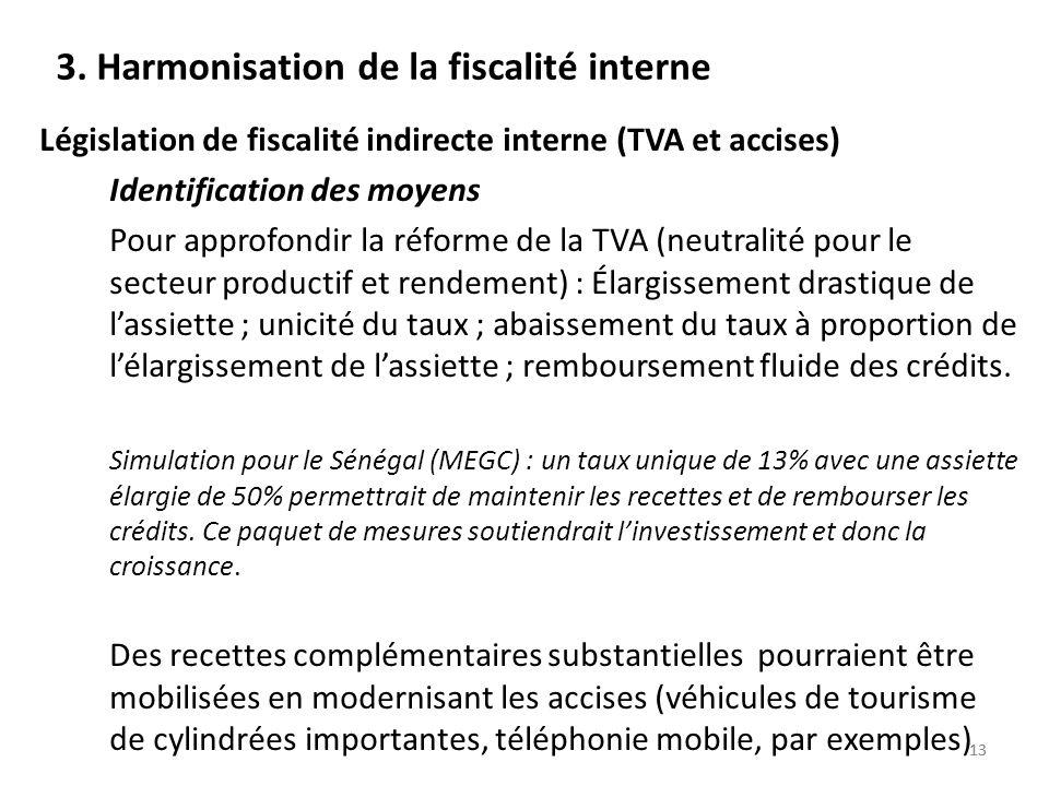 13 3. Harmonisation de la fiscalité interne Législation de fiscalité indirecte interne (TVA et accises) Identification des moyens Pour approfondir la