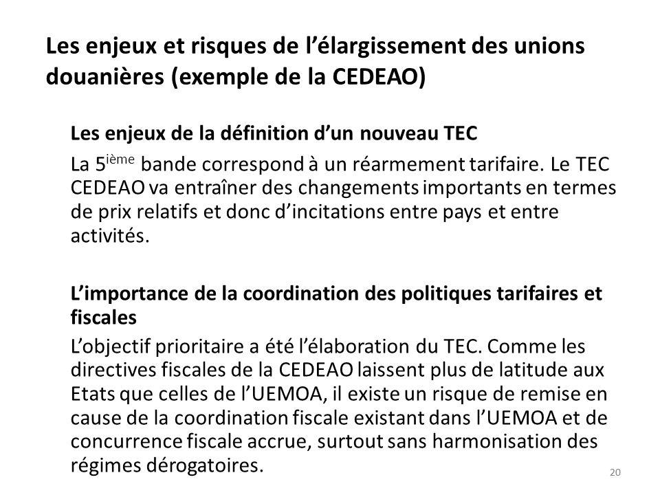 20 Les enjeux et risques de lélargissement des unions douanières (exemple de la CEDEAO) Les enjeux de la définition dun nouveau TEC La 5 ième bande co