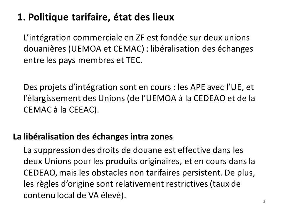 33 1. Politique tarifaire, état des lieux Lintégration commerciale en ZF est fondée sur deux unions douanières (UEMOA et CEMAC) : libéralisation des é