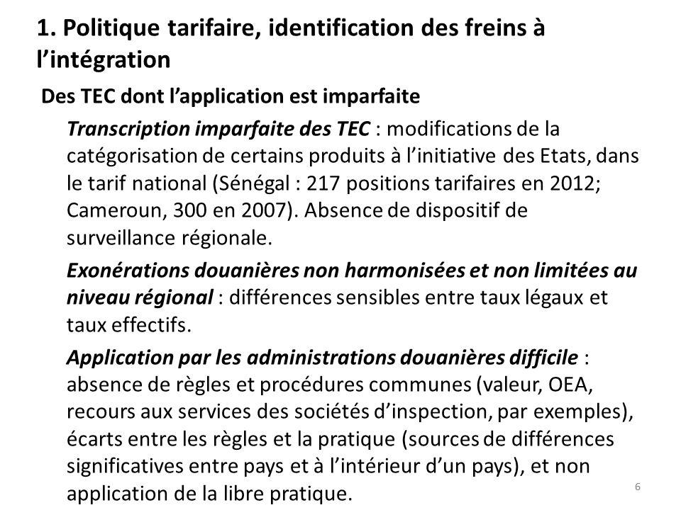 66 1. Politique tarifaire, identification des freins à lintégration Des TEC dont lapplication est imparfaite Transcription imparfaite des TEC : modifi