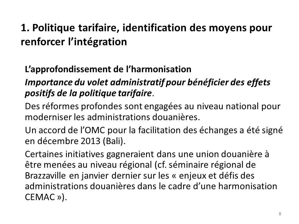 88 1. Politique tarifaire, identification des moyens pour renforcer lintégration Lapprofondissement de lharmonisation Importance du volet administrati