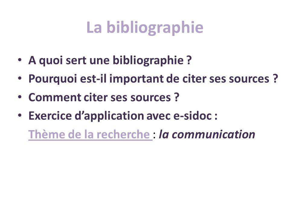La bibliographie A quoi sert une bibliographie ? Pourquoi est-il important de citer ses sources ? Comment citer ses sources ? Exercice dapplication av