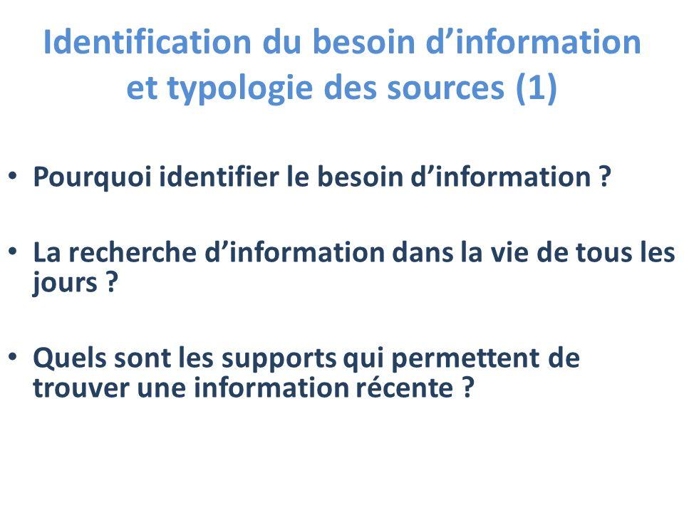Identification du besoin dinformation et typologie des sources (1) Pourquoi identifier le besoin dinformation ? La recherche dinformation dans la vie