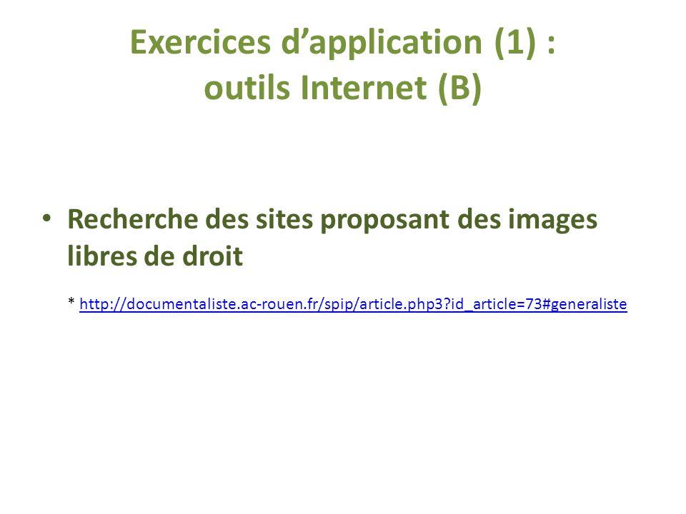 Exercices dapplication (1) : outils Internet (B) Recherche des sites proposant des images libres de droit * http://documentaliste.ac-rouen.fr/spip/article.php3?id_article=73#generalistehttp://documentaliste.ac-rouen.fr/spip/article.php3?id_article=73#generaliste
