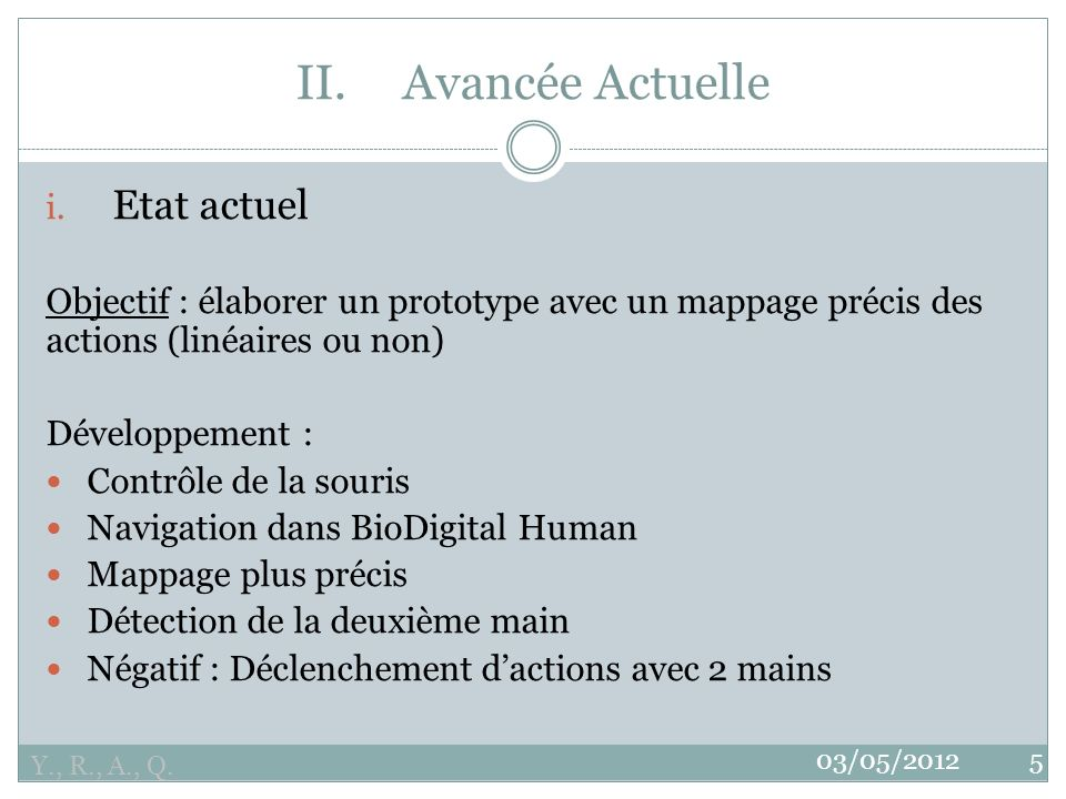 Y., R., A., Q.03/05/20125 II.Avancée Actuelle i.