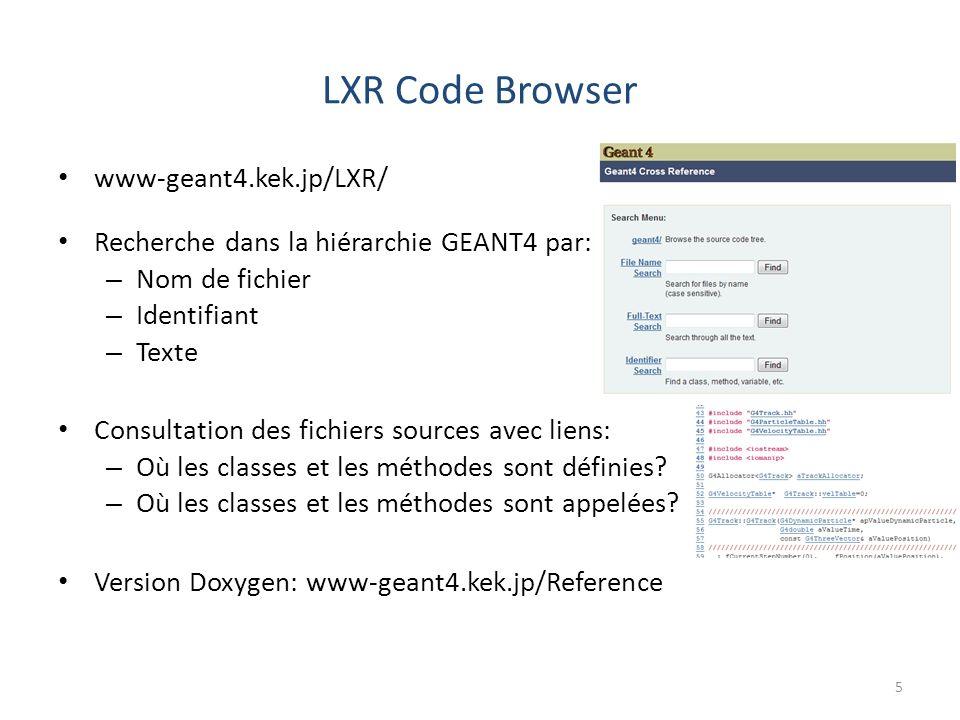 LXR Code Browser 5 www-geant4.kek.jp/LXR/ Recherche dans la hiérarchie GEANT4 par: – Nom de fichier – Identifiant – Texte Consultation des fichiers sources avec liens: – Où les classes et les méthodes sont définies.