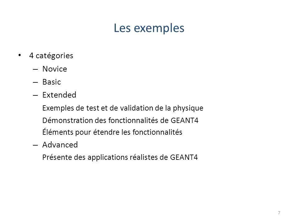 Les exemples 4 catégories – Novice – Basic – Extended Exemples de test et de validation de la physique Démonstration des fonctionnalités de GEANT4 Éléments pour étendre les fonctionnalités – Advanced Présente des applications réalistes de GEANT4 7