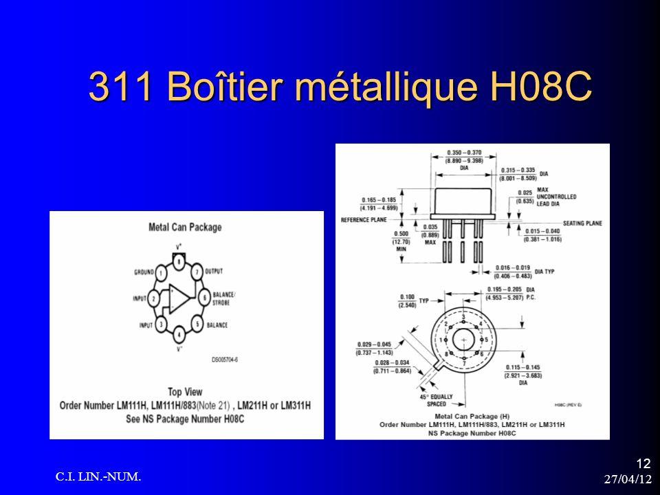 27/04/12 C.I. LIN.-NUM. 12 311 Boîtier métallique H08C