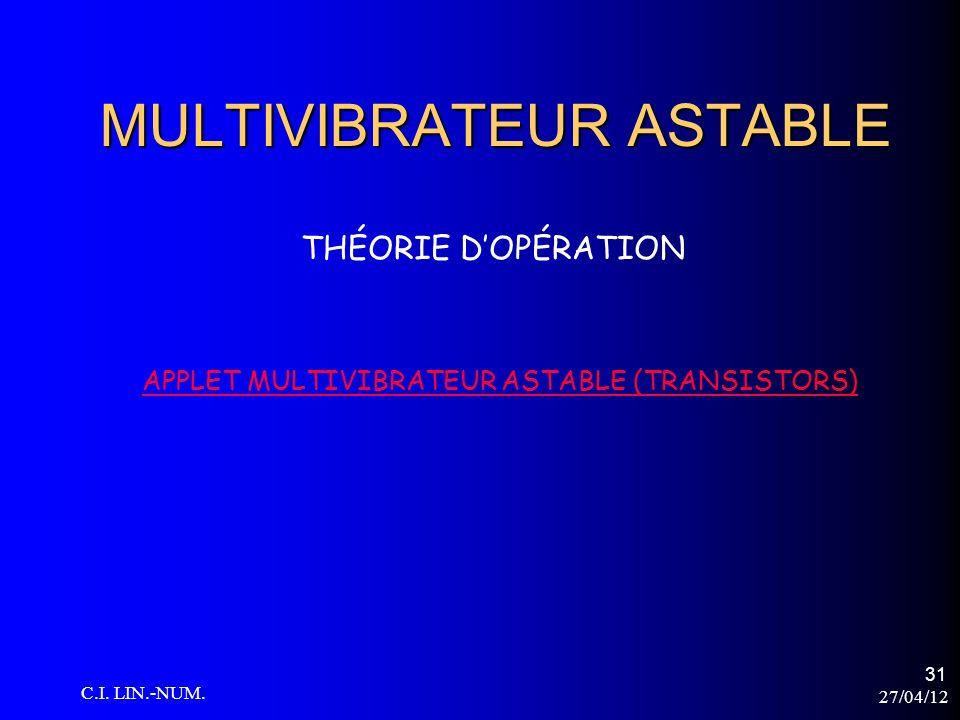 27/04/12 C.I. LIN.-NUM. 31 MULTIVIBRATEUR ASTABLE THÉORIE DOPÉRATION APPLET MULTIVIBRATEUR ASTABLE (TRANSISTORS)