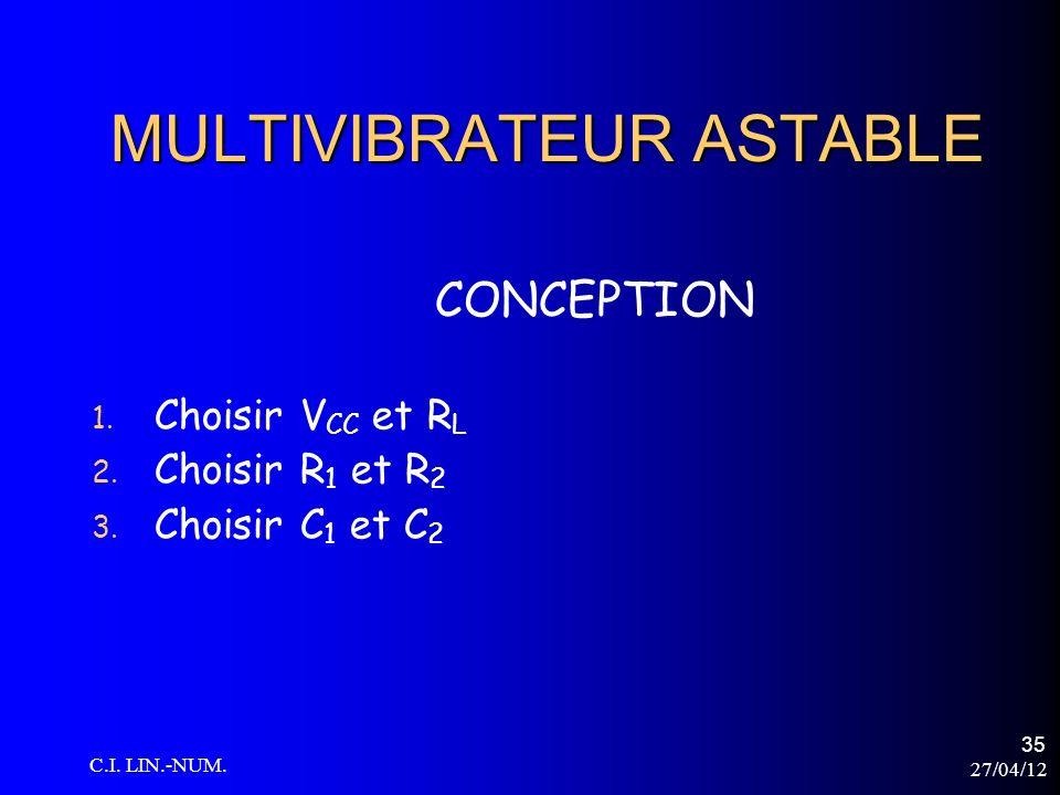 27/04/12 C.I. LIN.-NUM. 35 MULTIVIBRATEUR ASTABLE 1. Choisir V CC et R L 2. Choisir R 1 et R 2 3. Choisir C 1 et C 2 CONCEPTION