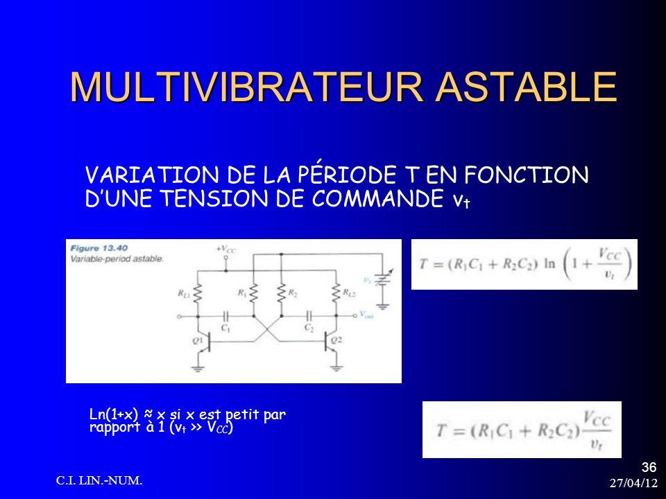 27/04/12 C.I. LIN.-NUM. 36 MULTIVIBRATEUR ASTABLE VARIATION DE LA PÉRIODE T EN FONCTION DUNE TENSION DE COMMANDE v t Ln(1+x) x si x est petit par rapp