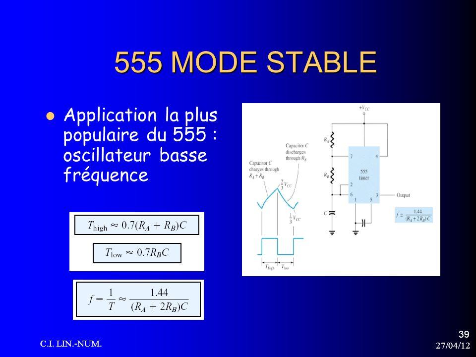 27/04/12 C.I. LIN.-NUM. 39 555 MODE STABLE Application la plus populaire du 555 : oscillateur basse fréquence