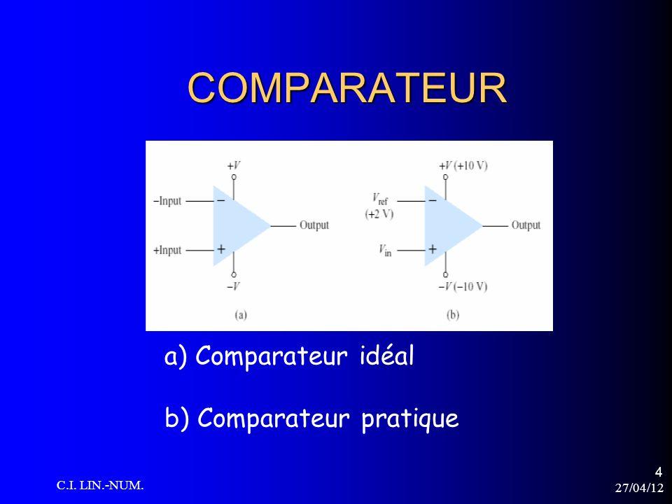27/04/12 C.I. LIN.-NUM. 5 AMPLI-OP comme comparateur