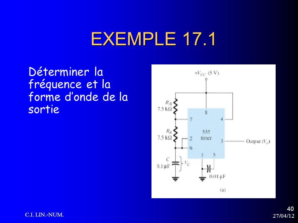 27/04/12 C.I. LIN.-NUM. 40 EXEMPLE 17.1 Déterminer la fréquence et la forme donde de la sortie
