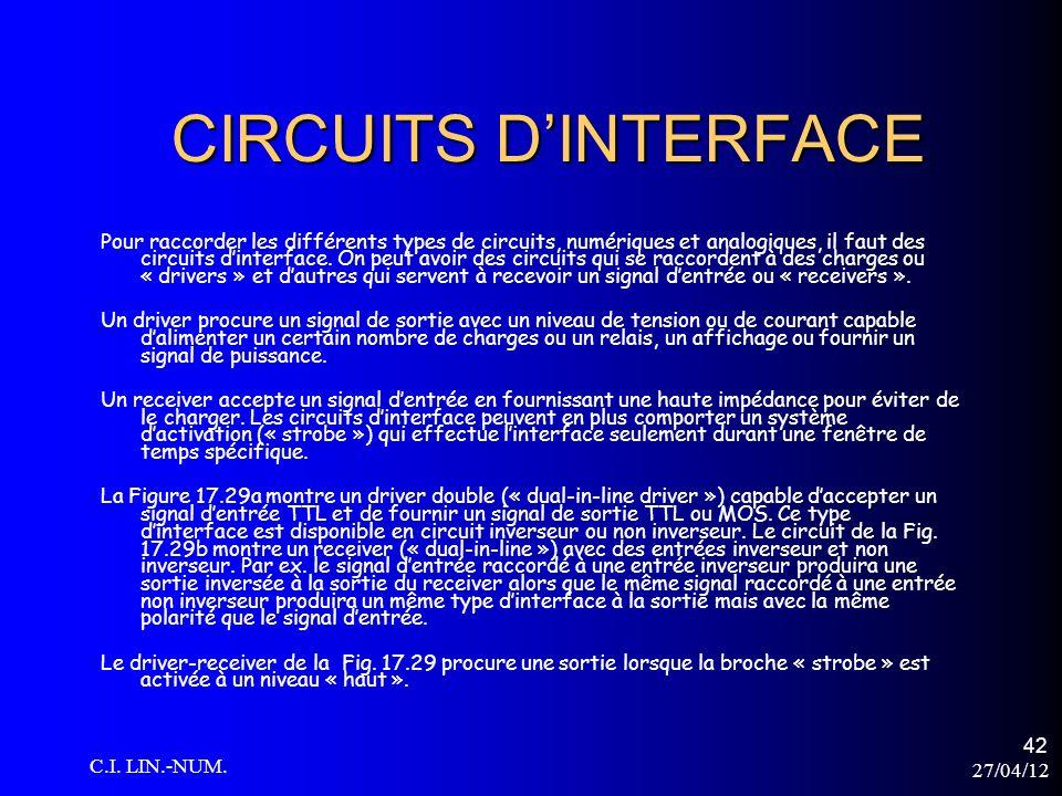 27/04/12 C.I. LIN.-NUM. 42 CIRCUITS DINTERFACE Pour raccorder les différents types de circuits, numériques et analogiques, il faut des circuits dinter