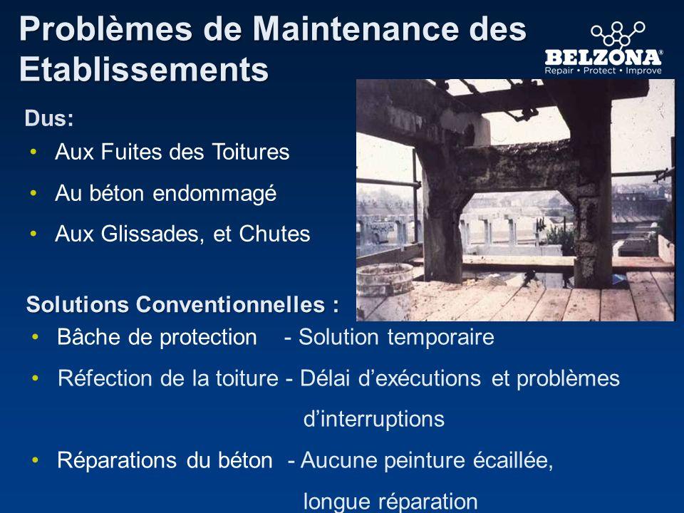 Problèmes de Maintenance des Etablissements Solutions Conventionnelles : Dus: Aux Fuites des Toitures Au béton endommagé Aux Glissades, et Chutes Bâch