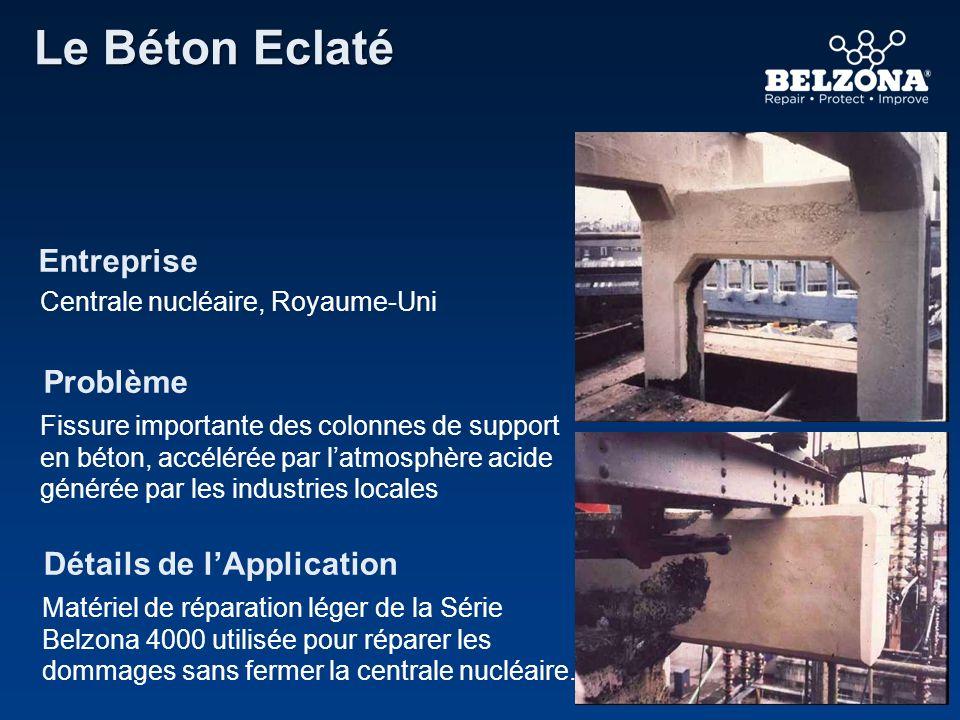 Entreprise Problème Détails de lApplication Le Béton Eclaté Centrale nucléaire, Royaume-Uni Fissure importante des colonnes de support en béton, accél
