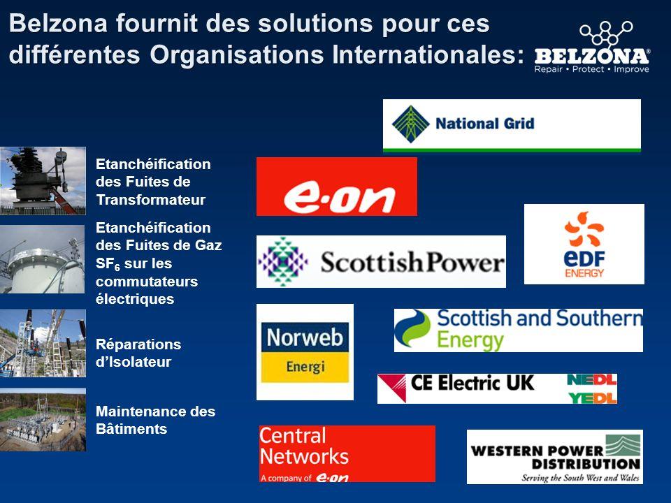 Belzona fournit des solutions pour ces différentes Organisations Internationales: Etanchéification des Fuites de Transformateur Etanchéification des F