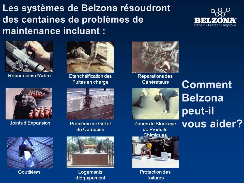 Les systèmes de Belzona résoudront des centaines de problèmes de maintenance incluant : Comment Belzona peut-il vous aider? Réparations dArbre Problèm