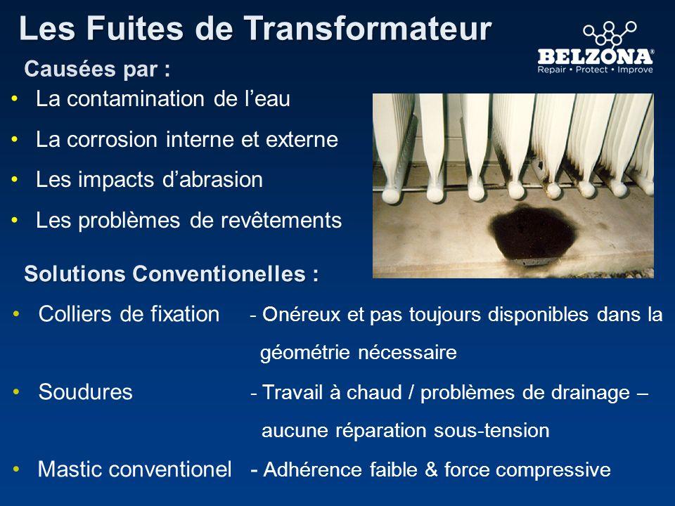 Les Fuites de Transformateur Solutions Conventionelles : Causées par : La contamination de leau La corrosion interne et externe Les impacts dabrasion
