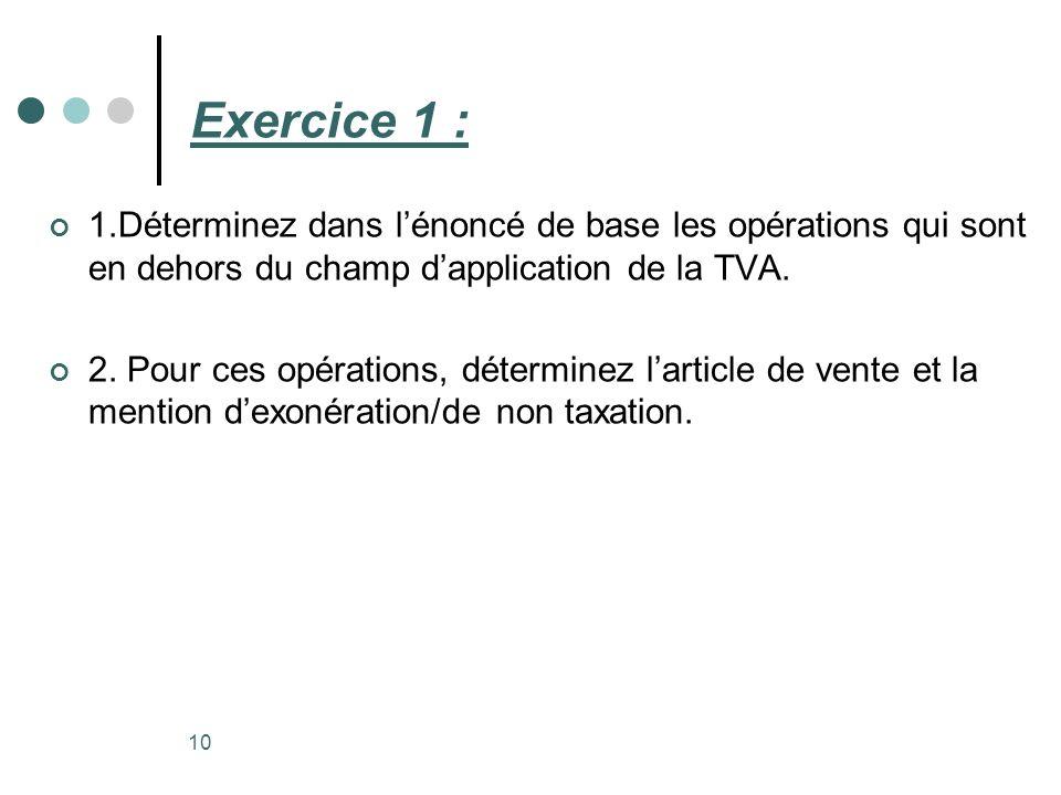Exercice 1 : 1.Déterminez dans lénoncé de base les opérations qui sont en dehors du champ dapplication de la TVA. 2. Pour ces opérations, déterminez l