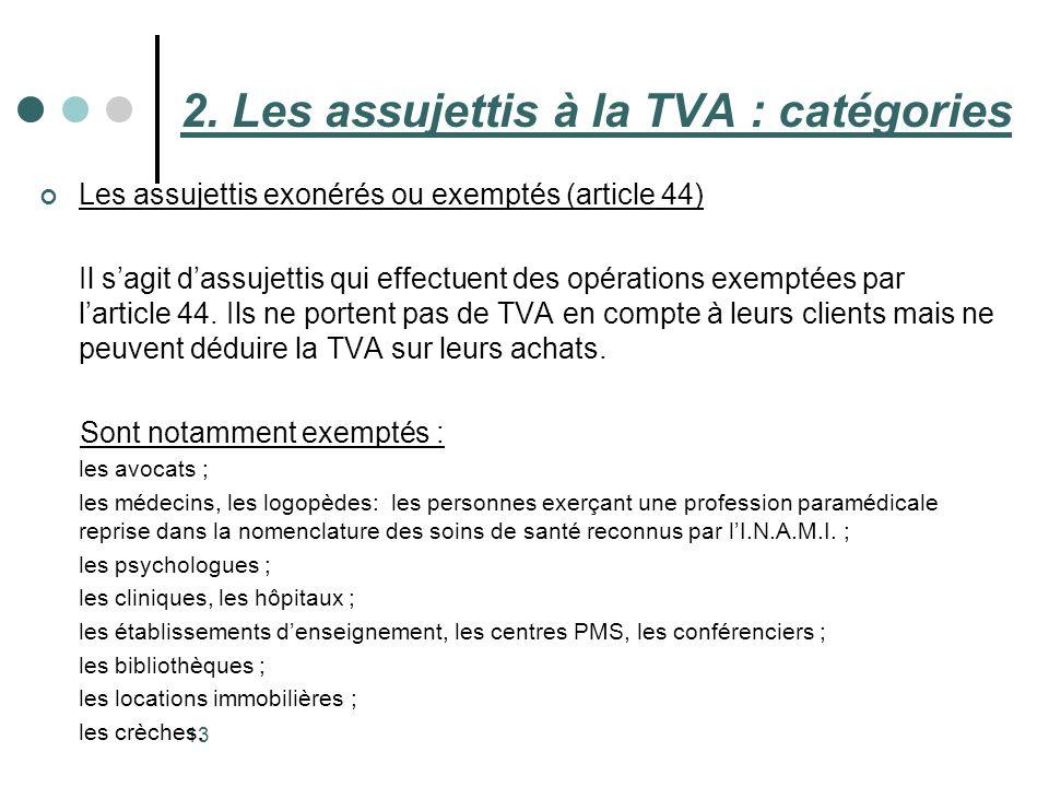 13 Les assujettis exonérés ou exemptés (article 44) Il sagit dassujettis qui effectuent des opérations exemptées par larticle 44. Ils ne portent pas d